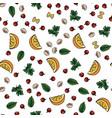 food pattern herbsbasil parsley tomato lemon vector image