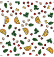 food pattern herbsbasil parsley tomato lemon vector image vector image
