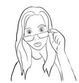 girl in glasses contour sketch vector image