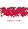 greeting card of valentine day with red hearts vector image vector image