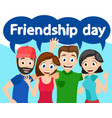 happy friends hugging and waving friendship day vector image vector image