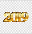 happy new year gold number 2019 golden crack vector image vector image
