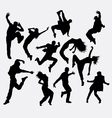 Hip hop male and female dancer silhouettes vector image vector image