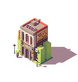 isometric old bank building vector image vector image