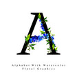 letter a watercolor floral background vector image vector image