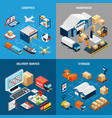logistics 2x2 isometric concept vector image vector image