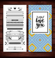 love you stationery with borders and icons vector image