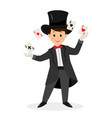 magician with hat and playing cards vector image vector image