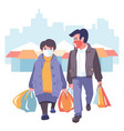 man and woman in masks go shopping vector image