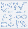mathematics and punctuation symbols hand drawn vector image vector image