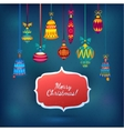 Merry Christmas Glass Balls on Blue Shining vector image vector image