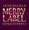 merry label typeface golden font isolated vector image vector image