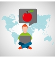 online training education-student apple vector image vector image