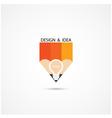 Pencil Logo and Creative light bulb idea vector image