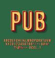 pub vintage 3d lettering vector image