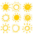 set design elements funny doodle sun vector image vector image