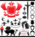 Set of heraldic silhouettes elements vector image vector image