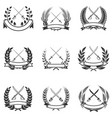 set wreaths with swords design elements vector image vector image