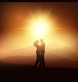 silhouette of a couple in a sunset landscape vector image vector image