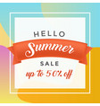 summer discount flat banner template vector image