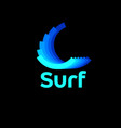 surf logo logo several dynamic curl shapes vector image vector image