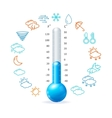 Weather Concept Blue Thermometr and Icon Set vector image vector image