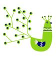 Beautiful green Peacock character vector image