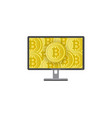 flat desktop computer monitor with bitcoins vector image