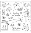 spring doodles set hand drawn flowers cats vector image