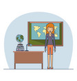 woman teacher in clothes on classroom with desk vector image