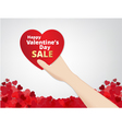 hand hold the heart label on heart footer backgrou vector image