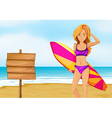 A lady surfer at the beach near the empty vector image