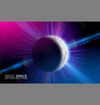 abstract space moon planet shining sun effect vector image