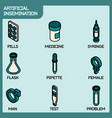 artificial insemination icon set vector image vector image