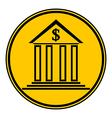 Bank symbol button vector image vector image
