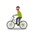 bearded man riding bicycle healthy and active vector image