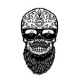bearded mexican sugar skull in sunglasses design vector image vector image