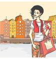 Beautyful girl shoppping vector image