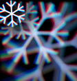 Blurred christmas snowflake sign with aberrations vector image vector image