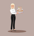 business woman with a cake at work flat design vector image vector image