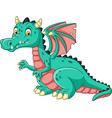 cartoon dragon isolated on white background vector image vector image