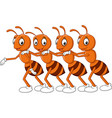 cartoon line of worker ants vector image vector image