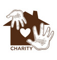 charity fund isolated icon house and human palms vector image vector image