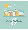 christmas city greeting card - snowy street vector image