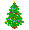 Christmas tree with bright toys in white backgroun vector image