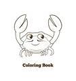 Coloring book crab cartoon educational vector image