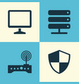 computer icons set collection of router defense vector image vector image