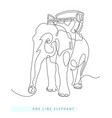 continuous one line drawing indian elephant vector image