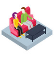 couple spending time at home sitting on sofa vector image vector image