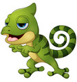 cute chameleon lizard cartoon pointing vector image